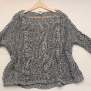 Express One Eleven Gray Oversized Knit Sweater